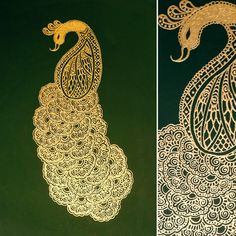 Hand painted gold peacock in henna by SketchedNEmbellished on Etsy
