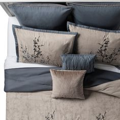 Taupe Bedroom, Taupe Bedding, Blue Comforter Sets, Bedding Master Bedroom, Linen Bedroom, Luxury Bedding, Modern Bedding, Modern Comforter Sets, Queen Bedding