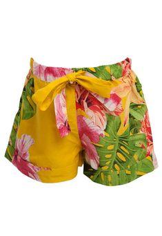 Short Fábula Costela de Adão Amarelo - Marca Fabula Trunks, Shorts, Swimwear, Fashion, Monstera Deliciosa, Yellow, Brazil, Drift Wood, Bathing Suits