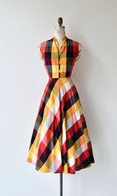 Quarto Plaid dress vintage 1950s dress plaid 50s dress