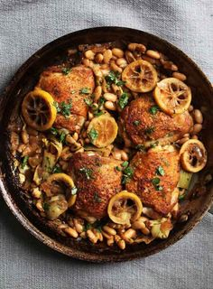 Crispy Chicken Thighs with Lemon, Artichokes, and Beans by savorysweetlife #Chicken #Lemon #Artichokes #Beans