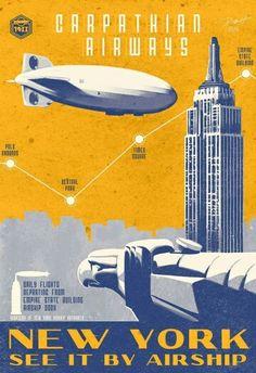 Vintage airship poster