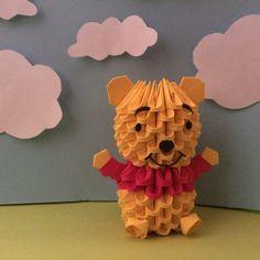 3D origami Winnie the Pooh measures 3.75 inches tall! Make sure to check out the other 3D origami creation at OlygamiCrafts :) All OlygamiCrafts
