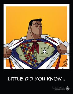 Cute clip art image of Superman turning into a boy scout.  Great idea to use for Cub Scouts!  Print and use.