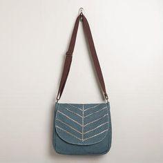 Studded Blue Messenger Bag by Cost Plus World Market.