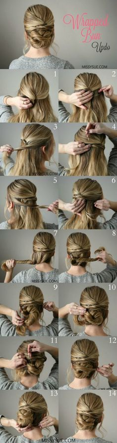 Wrapped-Bun-Updo   Frisuren Haarstyle