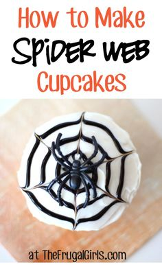 Wondering How to Make Spider Web Cupcakes? These fun cupcakes are always the hit of the party. So cute, easy to make, and perfect for Fall Parties! Halloween Goodies, Halloween Snacks, Halloween Cupcakes, Halloween Birthday, Happy Halloween, Halloween Clothes, 7th Birthday, Halloween Costumes, Fun Cupcakes