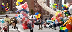Photograph by Peter Funch.   Babel Tales, Portraits, NYC, Crowds, Balloons