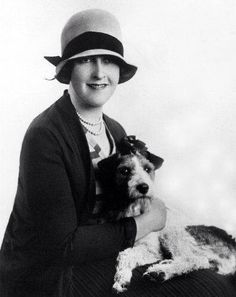 Agatha Christie with her dog Peter (a wire fox terrier).