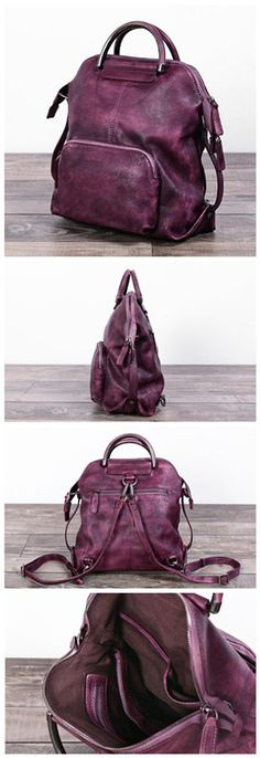 33d07b0a0d52 Handmade Genuine Leather Hand Bag Convertible Backpack for Women Casual Leather  Backpack Cow Leather