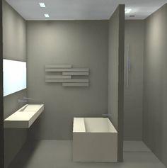bad tegen de wand, goed idee: maar ik zou de brede rand tegen de muur aan plaatsen ivm zitcomfort tijdens het baden