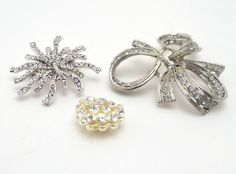 Vintage Jewelry for Craft or Repair, Silver Tone  Brooches and Pendant with Rhinestones by UpswingVintage on Etsy
