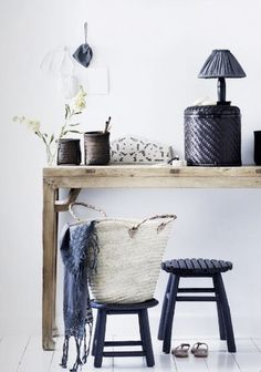 Entry Way: Use a stool tucked under a table for a small space. Maybe a basket under as well for storage