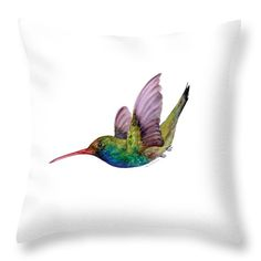 Cheer up any room with this Throw Pillow featuring the watercolor painting SWOOPING BROAD BILLED HUMMINGBIRD by Amy Kirkpatrick, $32 • AmyPrint.com #hummingbirds