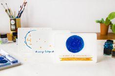 Set of three handdrawn cards 'Lichtjes' A6 van ninamaakt op Etsy