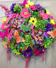 Summer Wreath, Mesh Wreath, Bright and Colorful, Butterflies on Etsy, $130.00