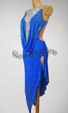 Ballroom Cha Cha Latin Rhythm Salsa US8 Dance Dress#L2311 Competition Blue