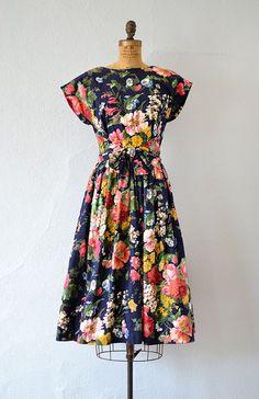 vintage 1990s 50's inspired bright floral low back dress