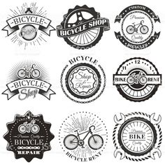 Vector set of bicycle repair shop labels and design elements in vintage black and white style. Bike royalty-free vector set of bicycle repair shop labels and design elements in vintage black and white style bike stock vector art & more images of logo Bicycle Shop, Bicycle Art, Bicycle Design, Logo Velo, Bike Logo, Vintage Grunge, Vintage Black, Logo Café, Anjou Velo Vintage