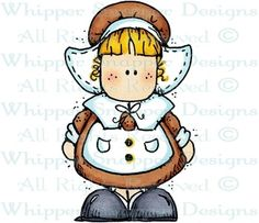 Pilgrim Girl - Thanksgiving - Holidays - Rubber Stamps - Shop