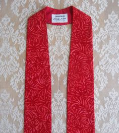 Red Clergy Stole Tone on Tone Swirl Print by SerendipityStoles