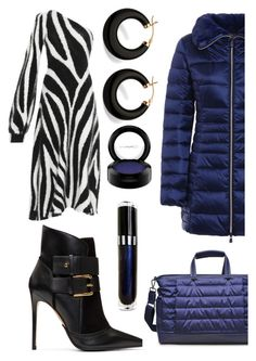 """""""Lips Go Blue"""" by aqualyra ❤ liked on Polyvore featuring Emilio Pucci, Balmain, Sol & Selene, Save the Duck, Palm Beach Jewelry, MAC Cosmetics, romantic, neutrals, bold and puffercoats"""