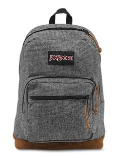 New JanSport Right Pack Digital Edition backpack in a grey houndstooth includes laptop and tablet sleeves, leather bottom and electronic specific organizer