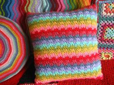 Rainbow Raindrops Cushion By Lucy - Free Crochet Pattern - Scroll Down For Rainbow Stitch (And Afghan) Link - Crochet Cushion Cover, Crochet Pillow Pattern, Crochet Cushions, Crochet Stitches, Blanket Crochet, Knitting Patterns Free, Stitch Patterns, Crochet Patterns, Free Pattern