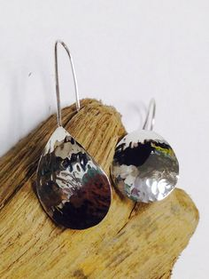 Simple hammered Sterling Silver Drop Earrings. Handmade Jewelry by Kelly Previte