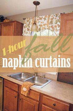 How to make 1-hour, fall napkin curtains - or a valance for every season! http://livingrichonless.com/how-to-make-one-hour-napkin-curtains/