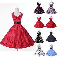 Retro-50s-60s-Rockabilly-Vintage-Audrey-Hepburn-Pinup-Swing-Evening-Party-Dress