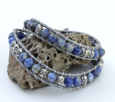 Sodalite wrap bracelet with natural by TheDragonsGrowlery on Etsy, $55.00