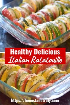 Ratatouille Recipe: Summer veggies roasted in the oven with an Italian flair Looking for a unique side dish everyone will love? This Italian ratatouille recipe is so flavorful Summer Side Dishes, Veggie Side Dishes, Healthy Side Dishes, Vegetable Dishes, Simple Side Dishes, Healthy Sides, Italian Vegetables, Healthy Vegetables, Roasted Vegetables