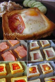 A creative breakfast sandwich idea: egg, tomato, and Canadian bacon in side a hollowed out piece of toast. Looks yummy! Breakfast Dishes, Breakfast Recipes, Breakfast Ideas, Breakfast Sandwiches, Breakfast Healthy, Good Food, Yummy Food, Cafe Food, Food Cravings
