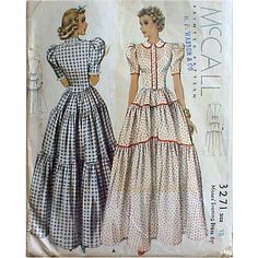 Rare 1930s Size Large Evening Gown Vintage Sewing Pattern McCall 3271 Bust 36