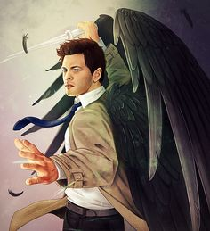 This is awesome fan art. Castiel - Supernatural - Cartoons and Fan Art Castiel, Supernatural Fans, Supernatural Cartoon, Supernatural Drawings, Satan, Winchester Brothers, Amazing Drawings, Imagines, Misha Collins