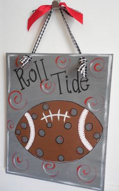 ALABAMA ROLL TIDE Canvas with Houndstooth by hydeandseekuniques, $20.00