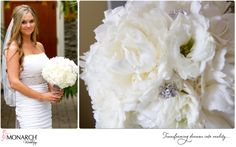 Stunning Peony, gardenia and hydrangea bouquet with silver wrap and rhinestone detail & brooch.  #bridalbouquet #bouquet #peony #wedding #shabbychic #monarchweddings @Splendid Sentiments flowers and gifts  Monarch Weddings (www.monarchweddings.com)