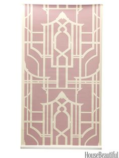 Pagoda silhouette wallpaper from waterhousewallhangings.com. housebeautiful.com. #wallpaper #pagoda #pink
