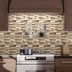 Shop Elida Ceramica Verona Beige Composite Vinyl Mosaic Scale Peel-And-Stick Wall Tile (Common: 10-in x 10-in; Actual: 9.4-in x 10-in) at Lowes.com