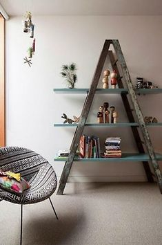 Dont throw that old ladder in the dump! Visit WasteFreeSD.org to find a recycling center near you...or turn it into some chic shelving!