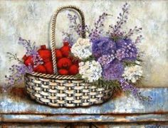 Art Painting by Stella Bruwer includes Pomegranates in basket, this example of Still Life has inspired this exceptionally talented artist. View other Paintings by Stella Bruwer in our Online Art Gallery. South African Artists, Flower Basket, Vintage Paper, Pretty Flowers, Online Art Gallery, Flower Prints, Painted Rocks, Flower Arrangements, Floral Wreath