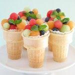 fruit in an ice cream cone, cute