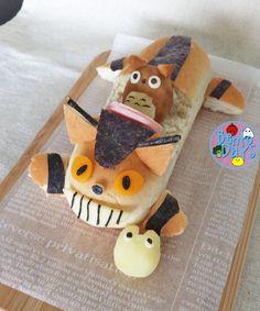 My Neighbor Totoro: Catbus Hotdog bun bento   Bento Days