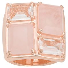 <li>Rose quartz and white crystal ring</li> <li>Gold over bronze jewelry</li><li> <a href='http://www.overstock.com/downloads/pdf/2010_RingSizing.pdf'><span class='links'>Click here for ring sizing guide</span></a></li>