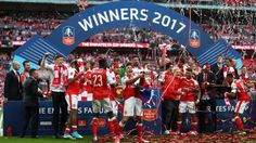 The Arsenal team celebrates winning the FA Cup at Wembley.   #FACup @TheArsenal #AFC #Champions #COYG 2016/17 #AFCvCFC #Chelsea  (Via Sky Sports)