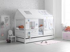 Das niedrige Bett Silver Sparkle von Life Time Kiefer Whitewash. Erweiterbar zum hohen Silversparkle. 207 x 102 cm, 181 cm hoch. Mit Rollboden. (Foto zeit Bett