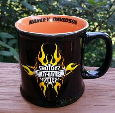 Harley Davidson Motorcycle Coffee Mug Cup 16 Oz. Black w/ Orange Logo Flames