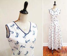 Vintage 1930s Beach Pajamas | Novelty Star and Anchor Print 1930s Loungewear | size medium