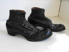 Victorian Edwardian Mens Shoes Black Vintage Button by soulrust, $299.99